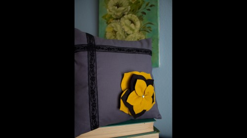 Grey And Yellow Flower Sham