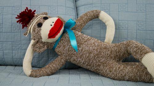 Sock Monkey On Bed
