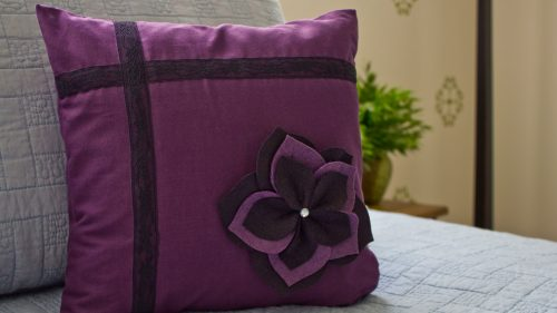 Purple And Black Flower Sham