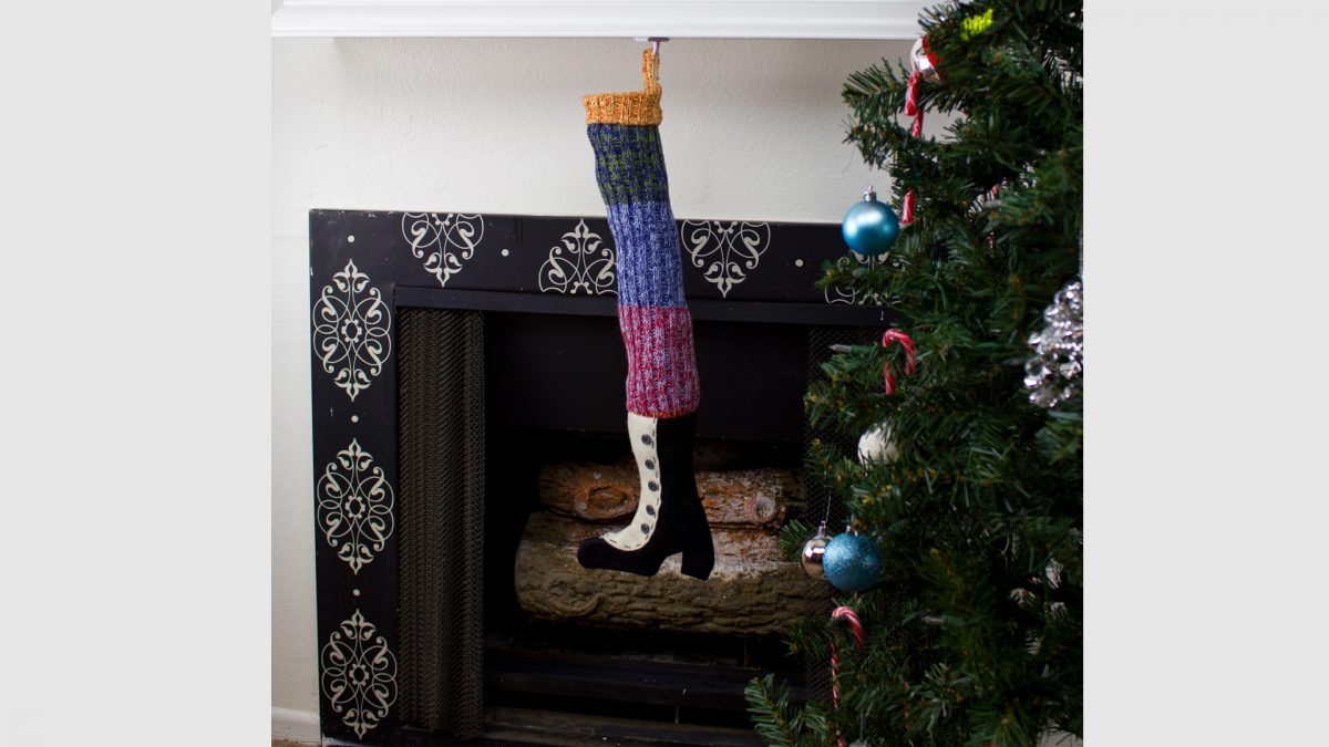 Victorian Boot Stocking At Fireplace