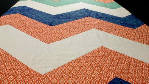 Chevron Quilt Top On Table
